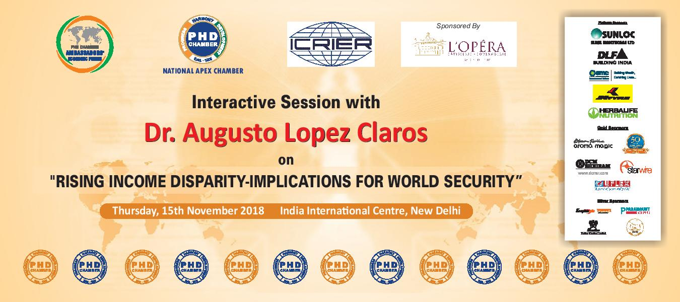 "Interactive Session with Dr. Augusto Lopez Claros on ""Rising Income Disparity–Implications for World Security"""