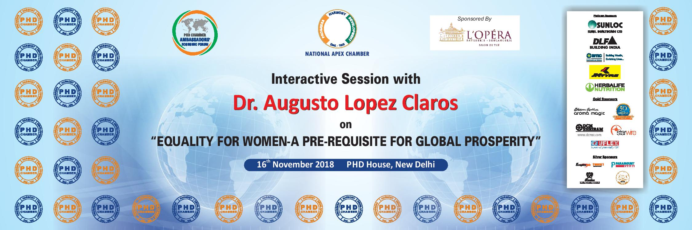 "Interactive Session with Dr. Augusto Lopez Claros on ""Equality for Women–A Pre-Requisite for Global Prosperity"""
