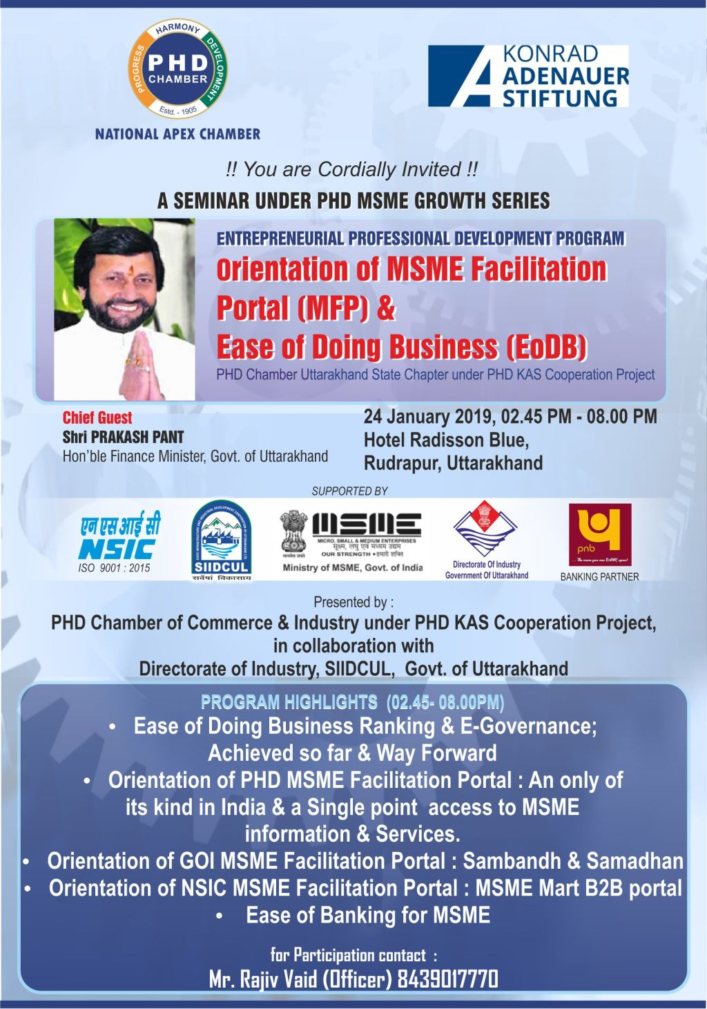 ENTREPRENEURIAL PROFESSIONAL DEVELOPMENT PROGRAM Orientation of MSME Facilitation Portal (MFP) &  Ease of Doing Business (EoDB)