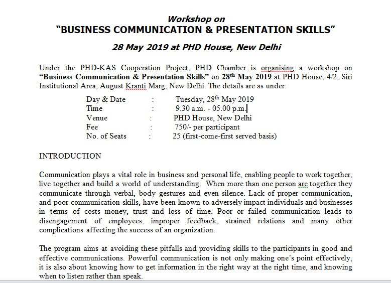"Workshop on ""BUSINESS COMMUNICATION & PRESENTATION SKILLS"""