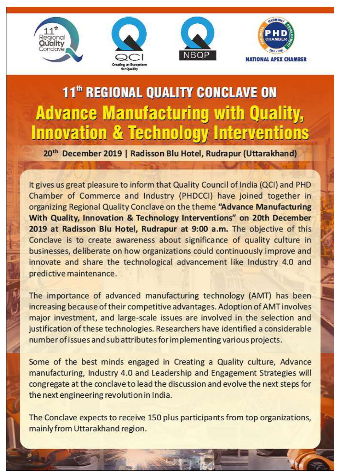 11th Regional Quality Conclave on Advance Manufacturing with Quality, Innovation & Technology Interventions
