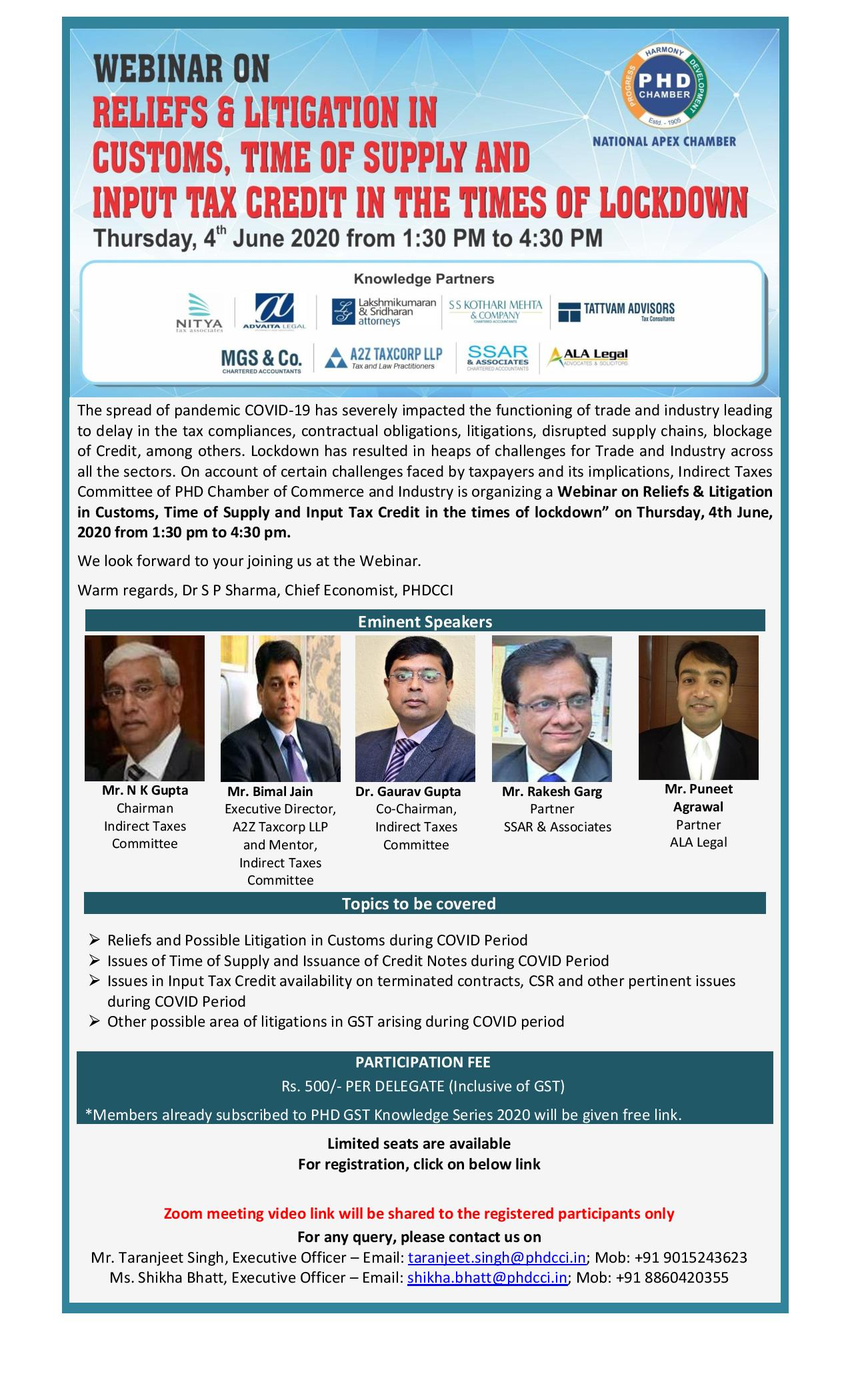 Webinar on Reliefs & Litigation in Customs, Time of Supply and Input Tax Credit in the times of lockdown