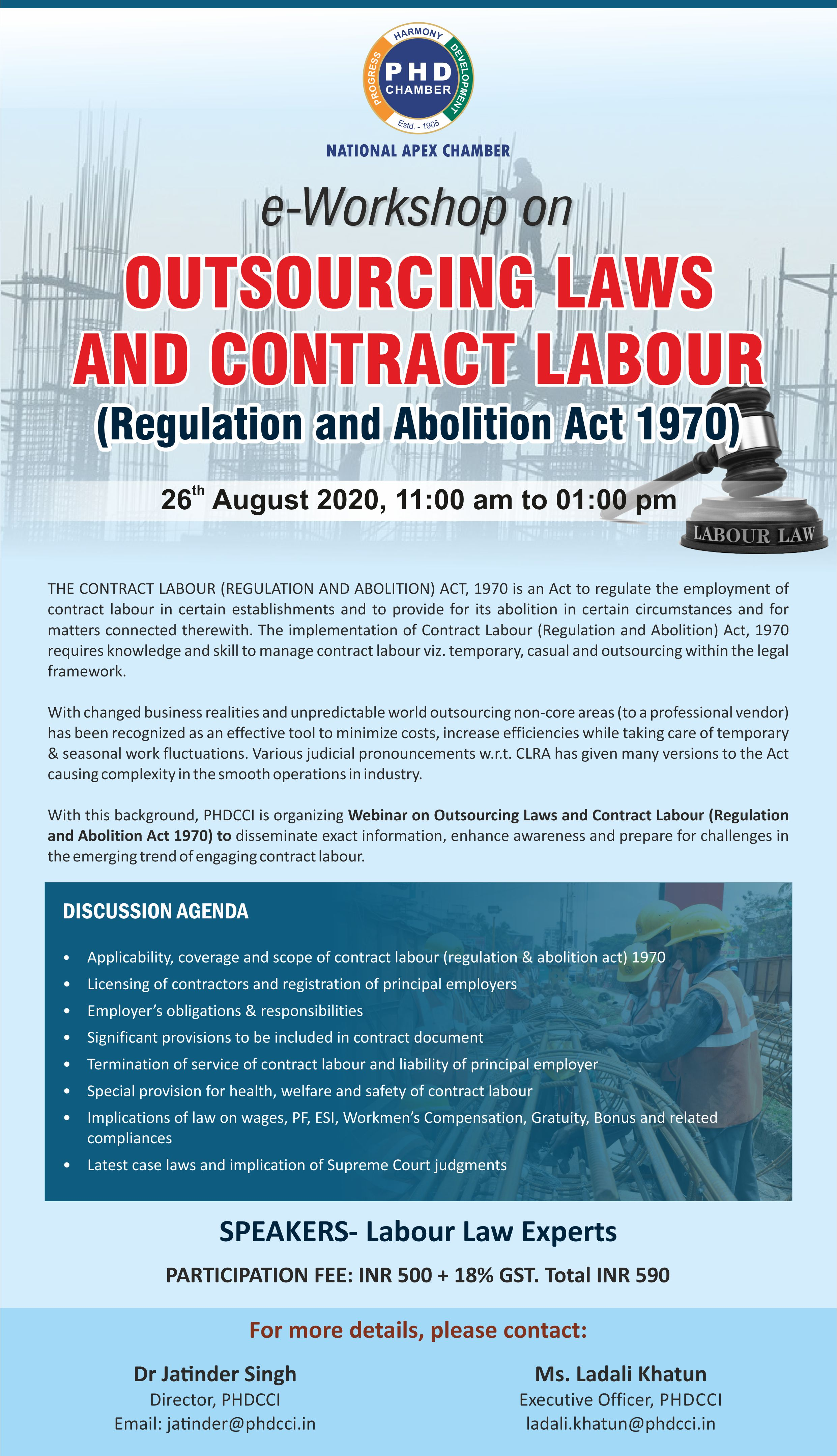 e-Workshop on Outsourcing Laws and Contract Labour (Regulation and Abolition Act 1970)
