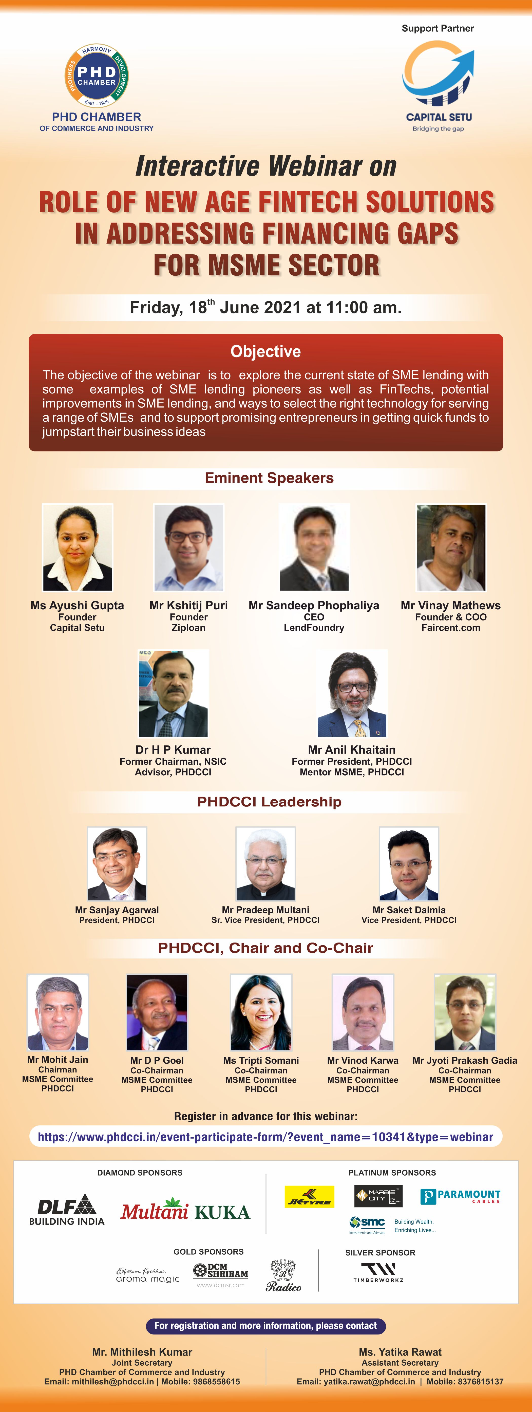 """Webinar on """" Role of New Age Fintech Solutions in addressing Financing Gaps for SME Sector"""